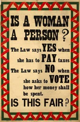 Print. ca 1914. Women's Suffrage.   Is A Woman A Person?