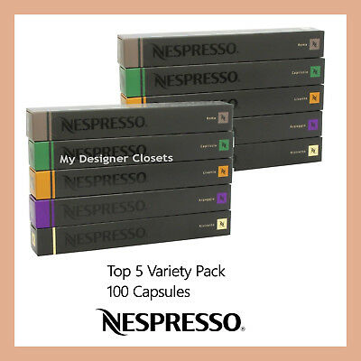 100 Capsules Nespresso Coffee Best Variety Pack Mixed Pod - Top 5 Popular MDC