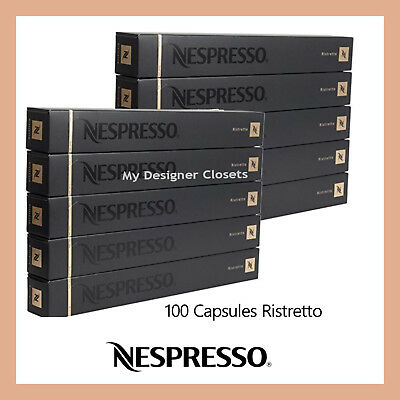 100 Capsules Nespresso Coffee Ristretto Pods Powerful Contrasting Intensity 10