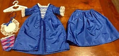 American Girl Felicity Christmas Dress 1996 Blue w/Accessories EXCELLENT