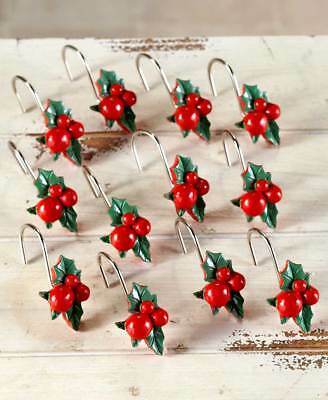 Unique 12pc HOLLY BERRY CHRISTMAS SHOWER CURTAIN HOOKS Holiday Bath Decor Gift