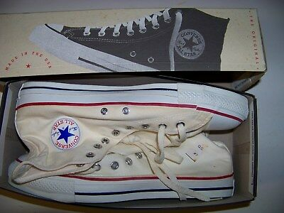 Vintage N.I.B. Made in USA Chuck Taylor Converse All-Star White Hi Tops, Size 12