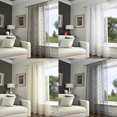 Harrogate Leaf Embroidered Voile Net Curtain Ready Made Slot Top Single Panel