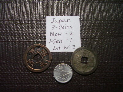 (3 Coins)   From Old Japan Mon (2) 1-Sen (1)             Lot  W-3