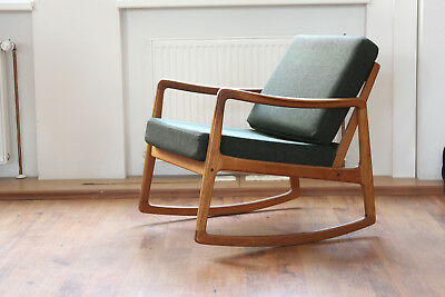 Schaukelstuhl Teak, Ole Wanscher France & Son Rocking Chair 1950er FD110 Dänisch