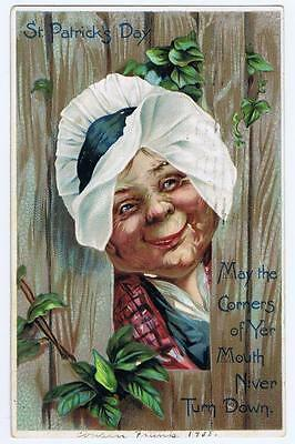 1908 St. Patrick's Day Tuck's postcard series No 106, woman, smile, bonnet #104