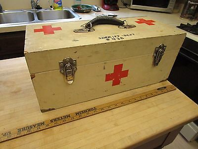 Vintage Wood Case   First Aid Kit Sheriff Department