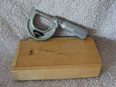 """Fowler Micrometer 0-1"""", .0001"""", With Wooden Box"""