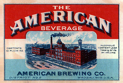 American Brewing Beer Label T Shirt Wausau Wisconsin Small Thru Xxxlarge )
