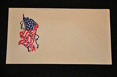 Wwii Us Patriotic Envelope / Cover 'american Flag On Staff' Nice Colorful Art