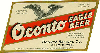 Oconto Brewing Eagle Beer Label T Shirt Oconto Wisc Small Thru Xxxlarge