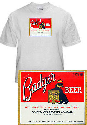 Whitewater Brewing Badger Beer Label T Shirt Whitewater Wisconsin Small - Xxxlg