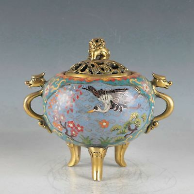 Chinese Cloisonne Handmade Crane Incense Burner DY515