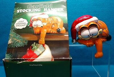 """Vintage 1978 Enseco """"Just Hanging Around"""" Garfield The Cat Stocking Holder EVC"""