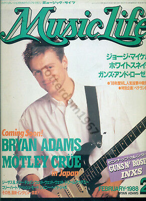 Bryan Adams - Front Cover + Article From Japan Magazine Music Life February 1988
