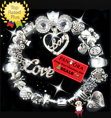 AUTHENTIC Pandora Bracelet Silver Wife CHRISTMAS LOVE with European Charms New