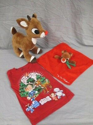 Three Piece Christmas Collection Featuring Rudolph, Tshirt & Baby's Toy