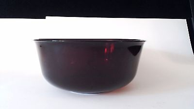 "Rare Vintage Ruby Red Glass Serving Salad BOWL Arcoroc France 8 3/4"" X 3 3/4"""