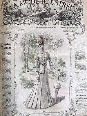 French  MODE ILLUSTREE SEWING PATTERN May 6,1906 CORSET,  GARTER BELT , LAYETTE