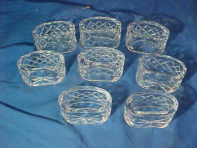 8-WATERFORD CRYSTAL Oval NAPKIN RINGS Alana Comeragh Pattern