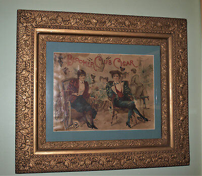 Antique Framed Poster, Bloomer Club Cigar, Ladies with Bicycles