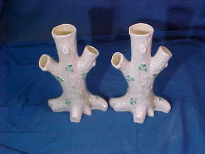 2 -1950s BELLECK Irish PORCELAIN Figural TREE TRUNK Design VASES 6""