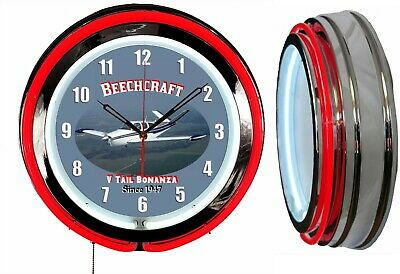 "Beechcraft Bonanza V Tail 19"" Double Neon Clock Airplane Aircraft Red Neon"