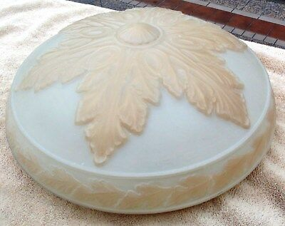 """Antique Art Nouveau Hanging Ceiling Shade Frosted & Leaf 16"""""""