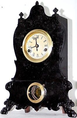 Antique Tall 1860's F. Kroeber Victorian Iron Front Mantel Clock W/ Paw Feet
