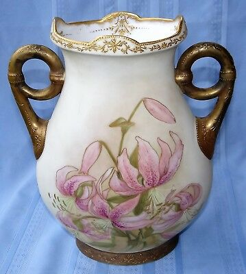 "Large Vtg 13"" Hand Painted Pink Lillies VASE Nippon? Gold Moriage Flower Handled"