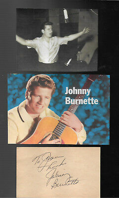 Johnny Burnette . Authentic In Person Hand Signed/inscribed Album Page/pictures.