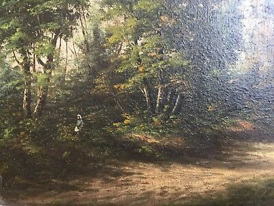 ANTIQUE FRENCH OIL PAINTING BARBIZON SCHOOL COROT SIGNED BONNAUD 19th CENTURY