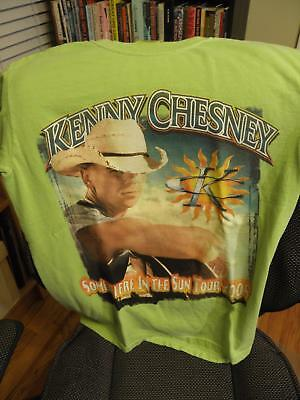 Kenny Chesney 2005 Somewhere In the Sun Tour T-Shirt Size Adult Small Lime Green