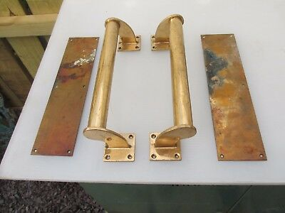 Antique Bronze Door Handles Pulls Set Finger Push Plates Shop Vintage Edwardian