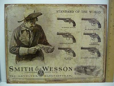 """Smith & Wesson Standard of The World Tin Metal Sign 12 1/2"""" x 16"""" New"""