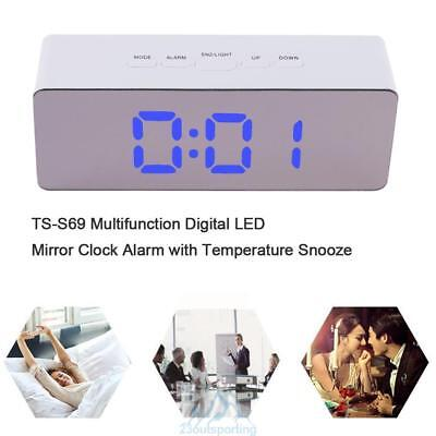 Multifunction Mirror Digital LED Alarm Clock with Temperature Snooze Night Mode