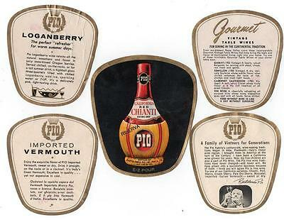 Pio, Bartolomeo, antique wine bottle label set of 5 Philadelphia PA VTG #70