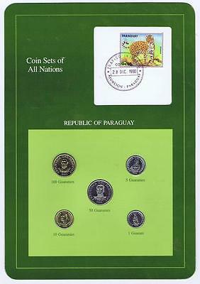 Republic of Paraguay 5 pc Mint set 1986-90 BU Coin Sets of All Nations stamp