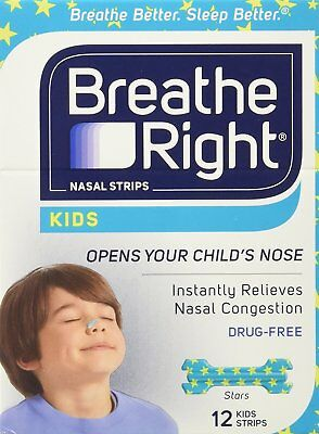 12 BREATHE RIGHT Nasal Strips for Kids Children Child Size Nose Band Breath Rite