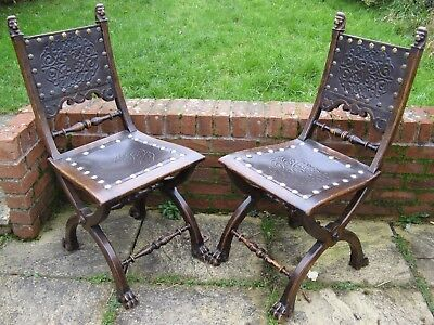 Pair of Oak Gothic Revival Hall Chairs, Manner of Pugin Early 20th C