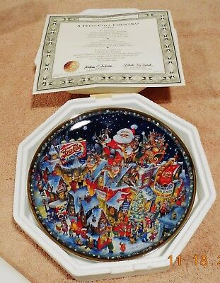 A Pepsi-Cola Christmas By Bill Bell-Franklin Mint Collectible Plate - 1994