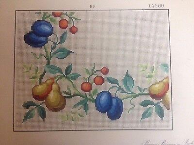Antique woolwork pear plum cherry fruit pattern, Bruno Borner in Berlin