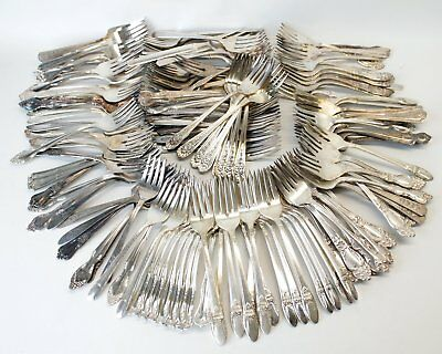 145 Silverplate Flatware Salad Forks Lot Craft/Jewelry First Love Tiger Lily