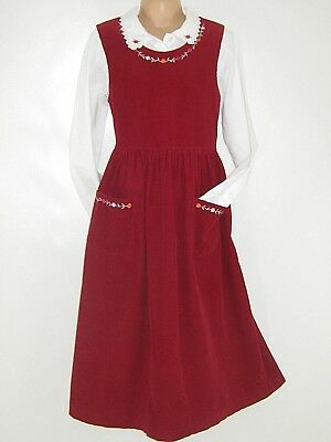 Laura Ashley Vintage Mother&child Cherry Needlecord Pinafore & Blouse, 8 Years