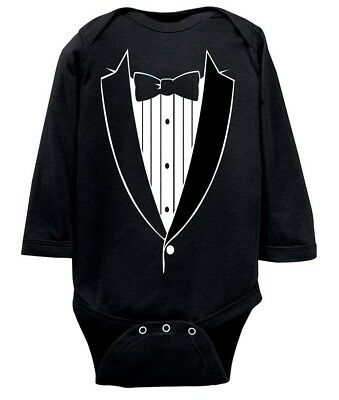 Tuxedo Bow Tie Baby Bodysuit Long Sleeve 6 12 Months