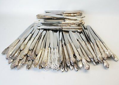 115 Silverplate Flatware Dinner Knives Lot Craft/Jewelry First Love Tiger Lily