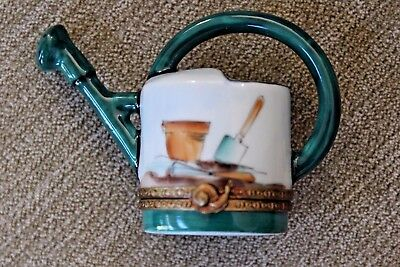 Hand Painted Limoges Figurel Watering Can Porcelain Trinket Box Signed Rochard!