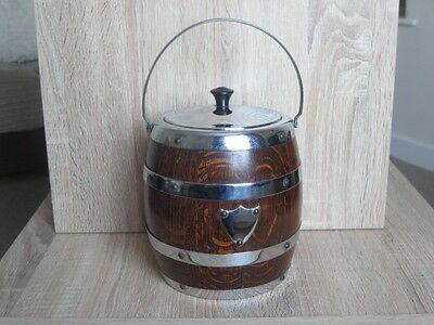 Vintage Oak / Chrome Biscuit Barrol / Ice Bucket with Ceramic Linning