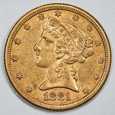 1881 Liberty Head $5 Gold Half Eagle Item#J1990