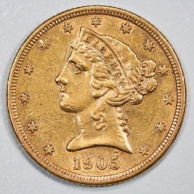 1905 S Liberty Head $5 Gold Half Eagle Item#J1991